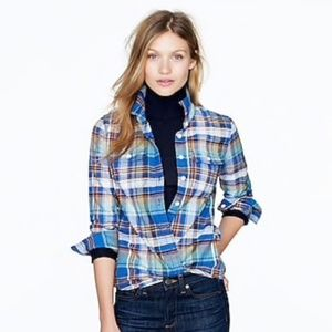 J Crew Boyfriend Blue Tartan Plaid Flannel Shirt 2